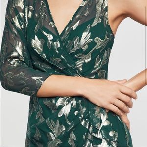 BCBGMaxAzria Dresses - BCBGMAXAZRIA Asymmetric Faux Wrap metallic Dress